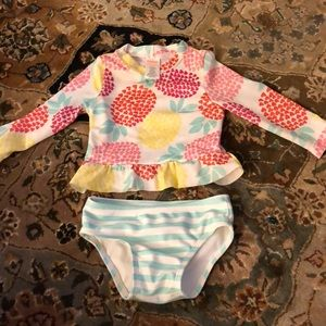 Gymboree bathing suit rash guard hearts pineapple